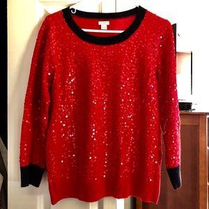 JCrew Glimmering Red Sweater